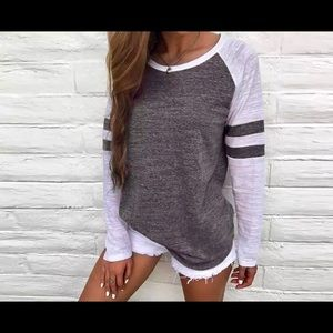 NWOT!!! Women's Long Sleeved Grey and White Shirt
